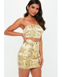 Missguided - Gold Oriental Jacquard Mini Skirt - Lyst