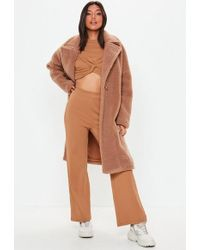 Missguided - Camel Wide Leg Ribbed Trousers - Lyst