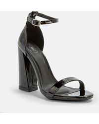 d178f91dfa8 Missguided - Black Patent Barely There Flared Block Heels - Lyst
