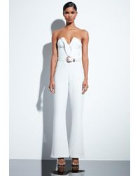 Missguided - Peace + Love White Plunge Gold Belted Jumpsuit - Lyst