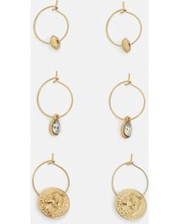 Missguided - Gold 3 Pack Coin Diamante Earrings - Lyst