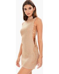 Missguided - Gold High Neck Lace Up Metallic Bodycon Dress - Lyst