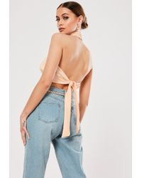 Missguided - Nude Backless Halterneck Top - Lyst