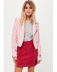 Missguided - Pink Studded Sleeve Faux Leather Jacket - Lyst