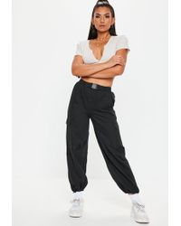 Missguided - Black Seatbelt Cargo Joggers - Lyst