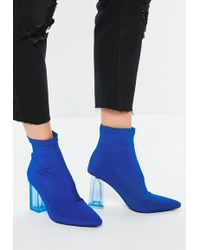 Missguided - Blue Clear Heeled Pointed Sock Heeled Boots - Lyst