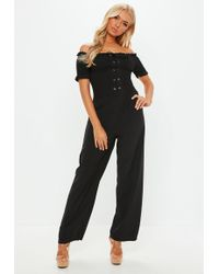 Missguided - Black Shirred Bardot Lace Up Jumpsuit - Lyst