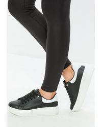 Missguided - Black Flatform Lace Up Trainers - Lyst