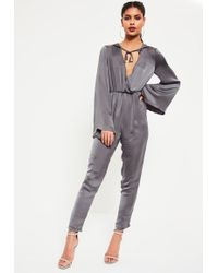 Missguided - Grey Satin Wrap Lightweight Hooded Jumpsuit - Lyst