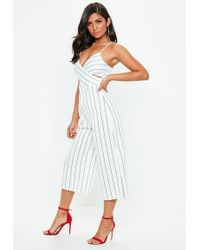 6b05ca3c61 Missguided - White Pinstripe Wrap Over Culotte Jumpsuit - Lyst