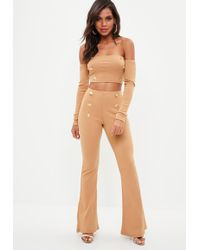 Missguided - Tall Brown Military Button Flared Pants - Lyst