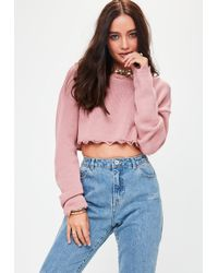 Missguided - Pink Distressed Cropped Jumper - Lyst