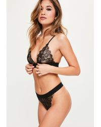 Missguided - Scallop Lace Thick Strap Triangle Bra Black - Lyst