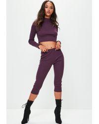 Missguided - Londunn + Purple Ribbed Leggings - Lyst