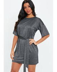 86402b0f26 Missguided - Black Tie Waist Glitter T Shirt Dress - Lyst