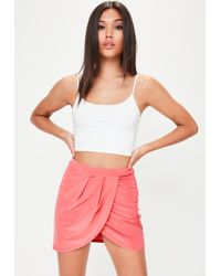 Missguided - Pink Wrap Over Mini Skirt - Lyst
