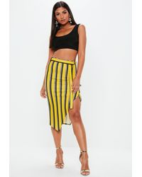 Missguided - Yellow Striped Tie Waist Midi Skirt - Lyst