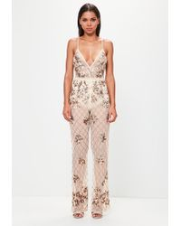 Missguided - Peace + Love Nude Embellished Cami Jumpsuit - Lyst