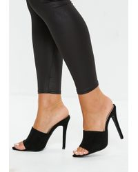 Missguided - Black Faux Suede Pointed Toe Heeled Mules - Lyst