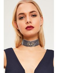 Missguided - Gray Jewelled Velvet Choker Necklace - Lyst