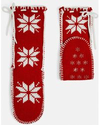 Missguided - Red Nordic Knitted Slipper Socks - Lyst