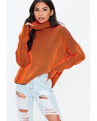 Missguided - Neon Orange Ribbed Roll Neck Knitted Jumper - Lyst 41ed46ea2