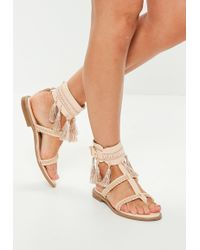 Missguided - Nude Tassel Buckle Flat Sandals - Lyst