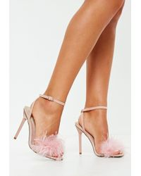 699683922821d0 Missguided - Blush Feather Barely There Heeled Sandals - Lyst