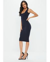 Missguided - Navy Crepe Square Neck Midi Dress - Lyst