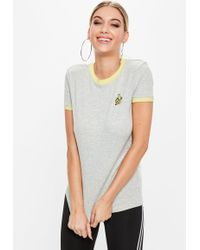 Missguided - Grey Contrast Yellow Trim Banana T-shirt - Lyst