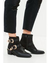 Missguided - Black Western Buckle Trim Cowboy Boots - Lyst