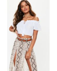 Missguided - White Bardot Tassel Crop Top - Lyst
