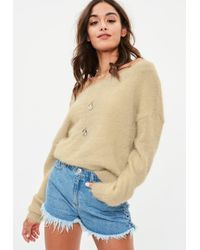 Missguided - Nude Fluffy Bardot Cropped Jumper - Lyst