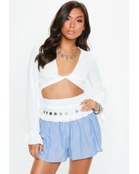 Missguided - Blue Floaty Chambray Coin Shorts - Lyst