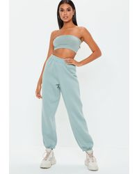 Missguided - Green 80s Brush Back Joggers - Lyst