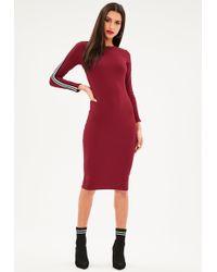 Missguided - Burgundy Sports Stripe Long Sleeve Midi Dress - Lyst