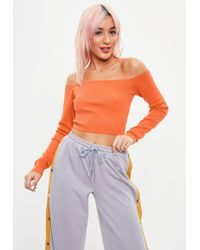Missguided - Orange Bardot Knitted Crop Top - Lyst