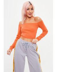 Missguided - Orange Bardot Cropped Jumper - Lyst