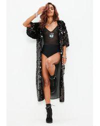 Missguided - Tall Black Sequin Kimono - Lyst