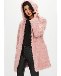 Missguided - Pink Shaggy Longline Faux Fur Coat - Lyst