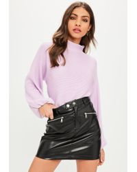 Missguided - Lilac High Neck Ribbed Balloon Sleeve Jumper - Lyst