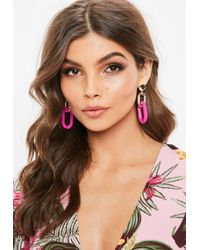 Missguided - Pink Chain Drop Earrings - Lyst