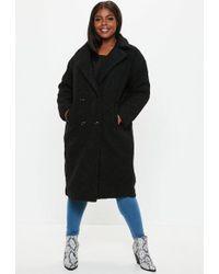 Missguided - Plus Size Black Longline Teddy Jacket - Lyst