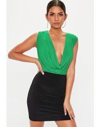 29c5c0ce1fb516 Missguided - Green Slinky Sleeveless Cowl Neck Bodysuit - Lyst