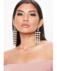 Missguided - Silver Crystal Rectangle Drop Earrings - Lyst
