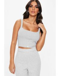 Missguided - Tall Grey Ribbed Button Front Bralet - Lyst