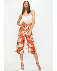 Missguided - Orange Floral Print Culotte Trousers - Lyst
