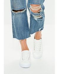 Missguided - White Solid Color Lace Up Sneakers - Lyst