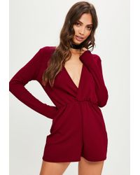 01a614aa9ff Lyst - Missguided Burgundy Zip Front Ribbed Long Sleeve Playsuit in Red