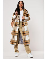 Missguided Mustard Check Oversized Cocoon Coat - Multicolour